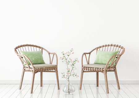 Neutral interior mockup with wicker chair and plant in vase on empty white wall background. 3D rendering.