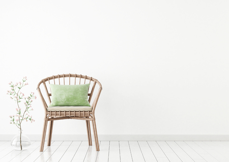 Neutral Interior Mockup With Wicker Chair And Plant In Vase On