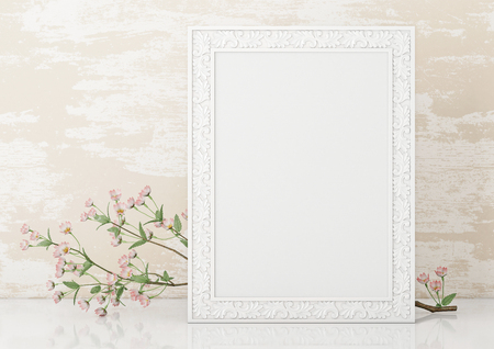 Vertical interior mock up with empty white frame and blooming twig on wooden wall background. 3D rendering. Stock fotó