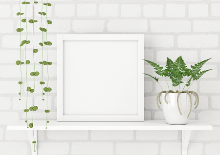 Square frame poster mock up with green plants on white brick wall background. 3d rendering.