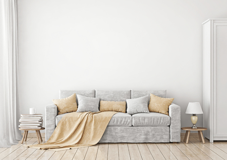 Livingroom Interior with sofa, pillows and plaid on empty white wall background. 3D rendering. Stock fotó