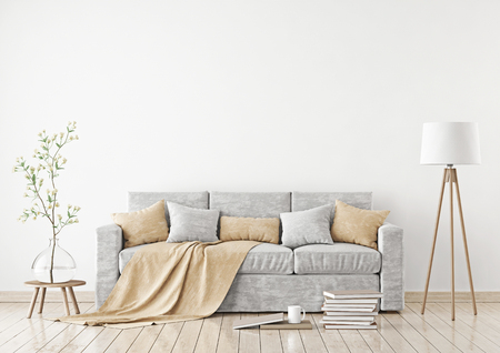 Empty white wall mockup with sofa, pillows, plaid and lamp on the floor. 3D rendering. Imagens