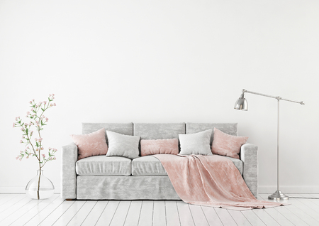 Empty white wall mockup with sofa, pillows, plaid, plant in vase and lamp on the floor. 3D rendering. Stock fotó
