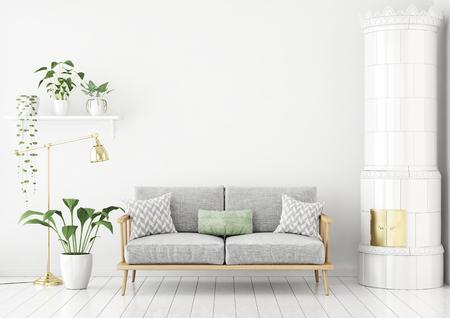 Salón de estilo escandinavo con sofá de tela, almohadas, plantas verdes y estufa tradicional. Representación 3d Foto de archivo
