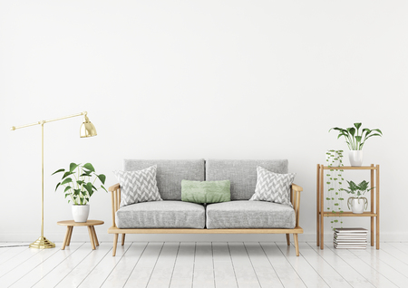 Skandinavisches Artwohnzimmer mit Gewebesofa, Kissen, goldener Lampe und Grünpflanzen auf weißem Wandhintergrund. 3D-Rendering.