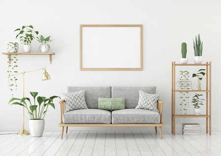 Horizontal poster mock up with wooden frame, sofa, lamp and plants on white wall background. 3d rendering.