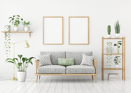 Scandinavian style poster mock up with two vertical frames, sofa and green plants on white wall background. 3d rendering.