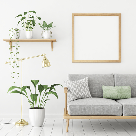Square poster mock up with wooden frame, sofa and green plants on white wall background. 3d rendering.