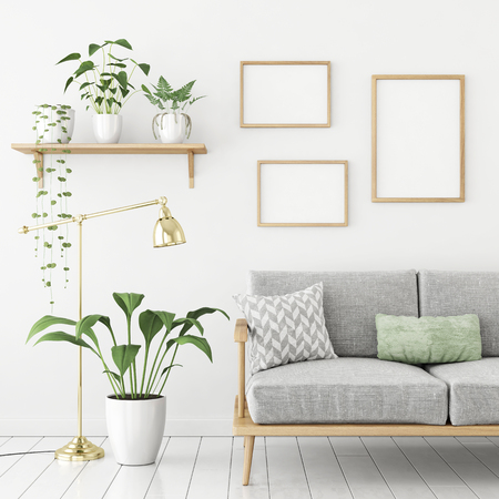Three frames poster mock up in scandinavian livingroom interior with sofa and green plants. 3d rendering.