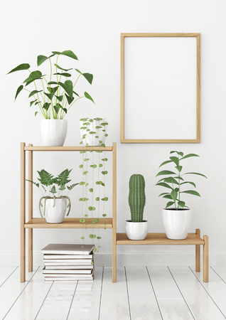 Vertical poster mock up in nordic style with wooden frame and green plants on stellage. 3d rendering.