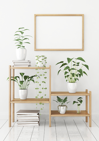 Horizontal poster mock up in nordic style with wooden frame and green plants on stellage. 3d rendering. Stock fotó