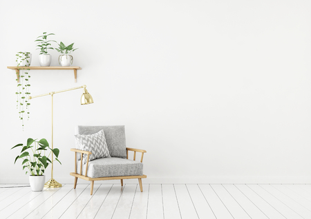 Salón de estilo escandinavo con sillón de tela gris, lámpara dorada y plantas sobre fondo de pared blanca vacía. Representación 3d