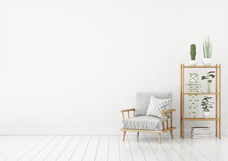 Intérieur de salon blanc de style nordique avec fauteuil gris, oreiller et plantes vertes. Rendu 3D.