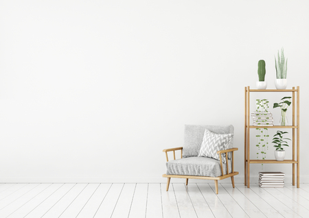 White livingroom interior in nordic style with gray armchair, pillow and green plants. 3d rendering.
