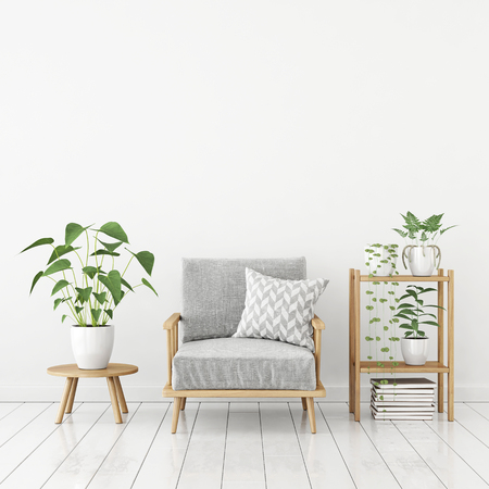 White livingroom interior in scandinavian style with gray armchair, pillow, green plants and empty space on top. 3d rendering.