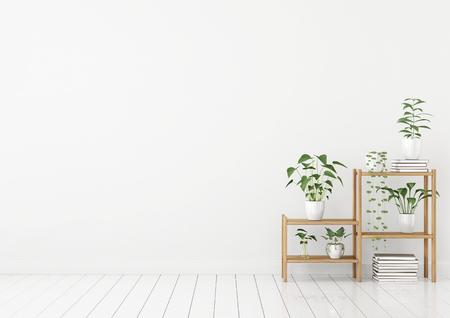 Empty white interior in scandinavian style with green plants in pots on wooden rack. 3d rendering. Stock fotó