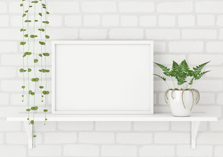Horizontal frame poster mock up with green plants on white brick wall background. 3d rendering. 스톡 콘텐츠