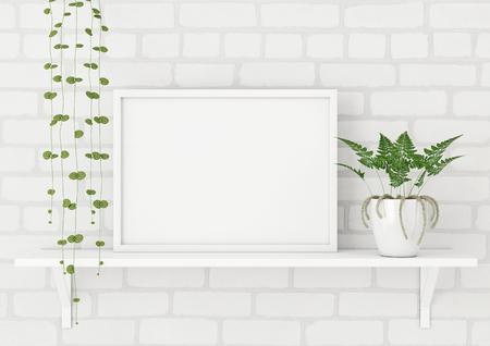 Horizontaler Rahmenplakatspott oben mit Grünpflanzen auf weißem Backsteinmauerhintergrund. 3D-Rendering. Standard-Bild