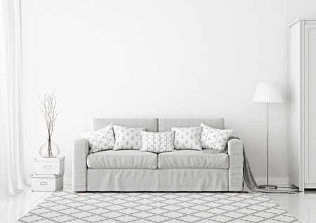 Cozy scandinavian style living room interior with gray fabric sofa, lamp, boxes and rug on white empty wall background. 3D rendering.