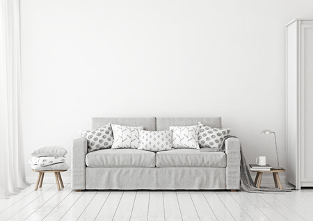 Scandinavian style livingroom interior with gray sofa and pillows on neutral white wall background. 3D rendering.