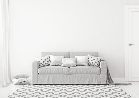 Simple and neutral living room with a gray sofa, graphic pattern pillows, plaid and scandinavian style rug. 3D rendering. Stok Fotoğraf