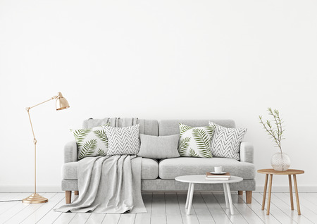 Neutral living room interior with fabric sofa, pillows, plaid, lamp and green plant on white wall background. 3d rendering. Stock fotó