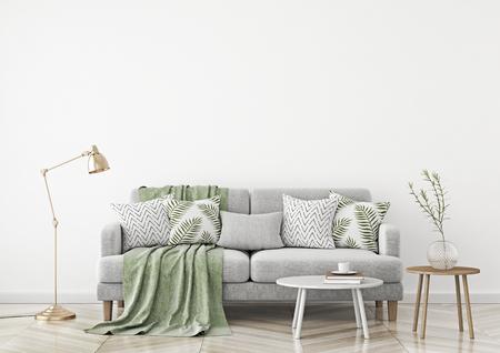 Sala de estar de estilo escandinavo con sofá de tela, almohadas, cuadros, lámpara y planta verde en jarrón sobre fondo de pared blanca. Representación 3D.