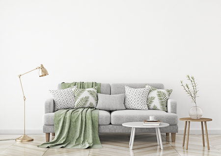 Scandinavian style living room with fabric sofa, pillows, plaid, lamp and green plant in vase on white wall background. 3d rendering.