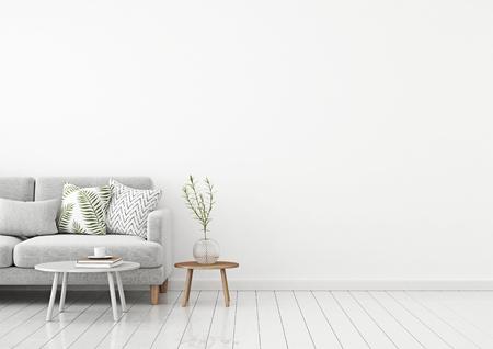 La pared interior de la sala de estar se burla con un sofá de tela gris y almohadas sobre un fondo blanco con espacio libre a la derecha. Representación 3D.