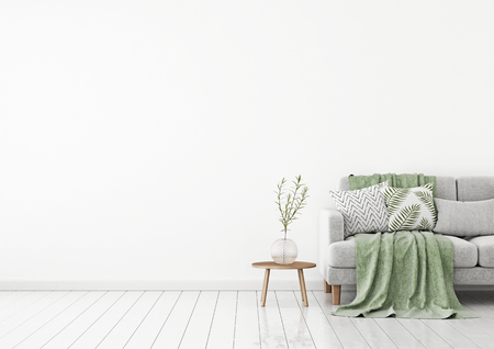 Livingroom interior wall mock up with a gray fabric sofa and pillows on white background with free space on left. 3d rendering. Stok Fotoğraf