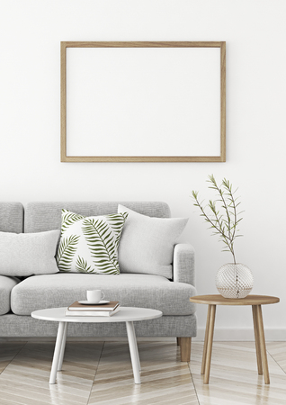 Interior poster with wooden horizontal frame in scandinavian style livingroom. 3d rendering.