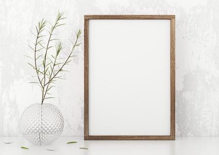 Vertical frame poster with a green plant in vase white stucco wall background. 3d rendering.