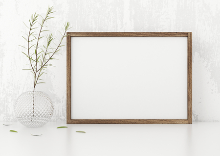 Horizontal frame poster with a green plant in vase white stucco wall background. 3d rendering.