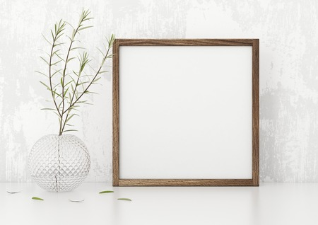 Square frame poster with a green plant in a vase white stucco wall background. 3d rendering. Stock fotó