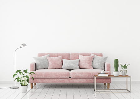 Livingroom interior wall mock up with a pink fabric sofa and pillows on a white wall background with free space on top. 3d rendering.