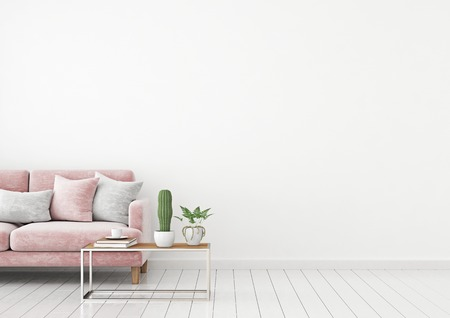 Livingroom Interior Wall Mock Up With Pink Velvet Sofa And Pillows On White  Wall Background With