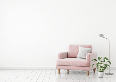 Interior poster with pink velvet armchair, pillow and plants on white wall background with free space on left. 3d rendering.