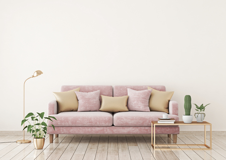 Livingroom interior wall mock up with a pink fabric sofa and pillows on a light beige wall background with free space on top. 3d rendering. Stok Fotoğraf