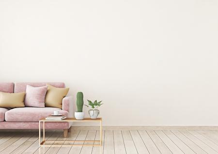 La pared interior de la sala de estar se burla con un sofá de terciopelo rosa y almohadas sobre un fondo de pared beige claro con espacio libre a la derecha. Representación 3D. Foto de archivo