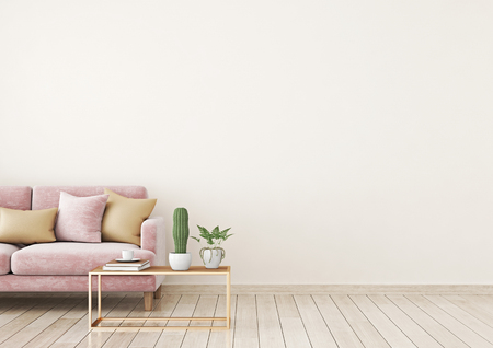 Wohnzimmer Innenwand Modell mit rosa Samt Sofa und Kissen auf hellbeige Wand Hintergrund mit freiem Platz auf der rechten Seite. 3D-Rendering. Standard-Bild