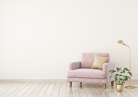 Interior poster with pink velvet armchair, pillow and plants on light beige wall background with free space on left. 3d rendering.