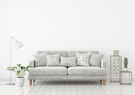 Livingroom interior wall mock up with a gray fabric sofa and pillows on a white wall background with free space on top. 3d rendering.