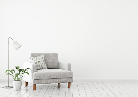 Scandinavian style interior wall mock up with gray velvet armchair, pillow and plants on white wall background with free space on right. 3d rendering.