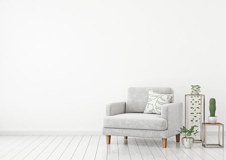 Scandinavian style interior wall mock up with gray velvet armchair, pillow and plants on white wall background with free space on left. 3d rendering.