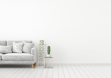 Scandinavian style interior wall mock up with gray velvet sofa and pillows on white wall background with free space on right. 3d rendering. Stok Fotoğraf