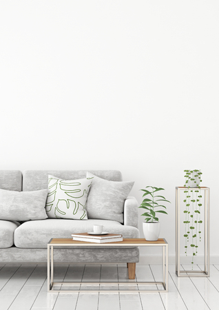 Scandinavian style interior wall mock up with gray velvet sofa and pillows on white wall background with free space on top. 3d rendering.