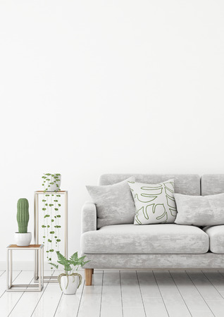 Scandinavian living room interior wall mock up with gray velvet sofa and pillows on white wall background with free space on top. 3d rendering.