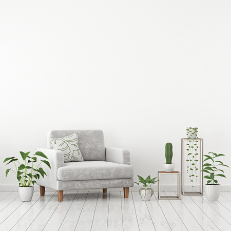 Scandinavian living room interior wall mock up with gray velvet armchair and plants on white wall background with free space on top. 3d rendering.
