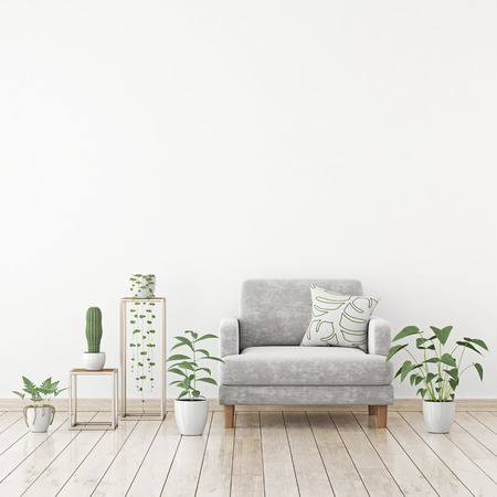 Simple scandinavian style living room interior with gray velvet armchair, pillow and plants clear white wall background. 3D rendering.