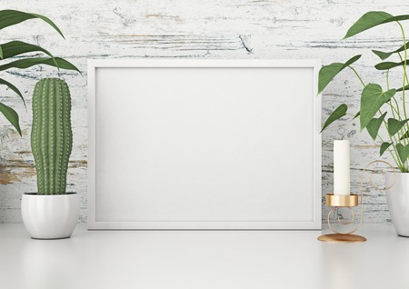 Horizontal frame poster with green plants on white wooden wall background. 3d rendering. Stok Fotoğraf